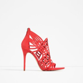 laser cut statement heels coral