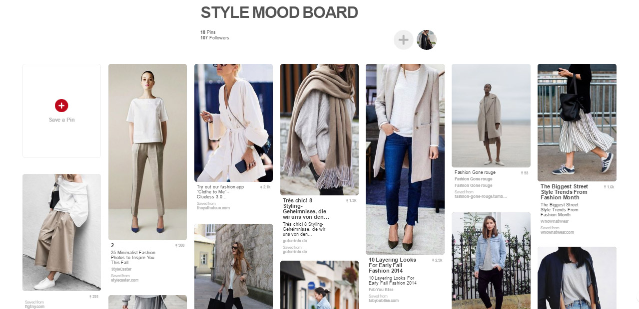Use pinterest to plan your wardrobe