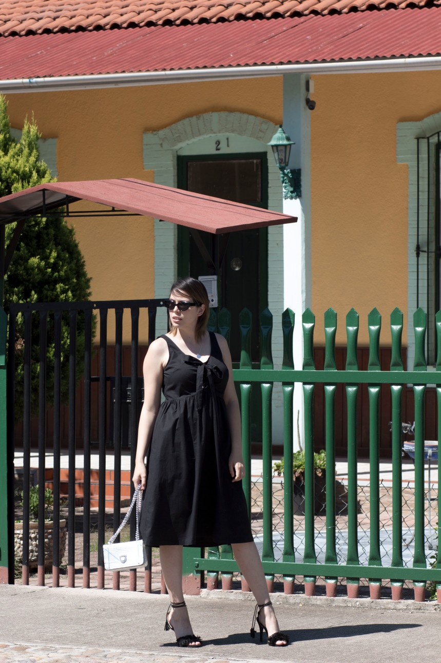 Black lace up dress_2