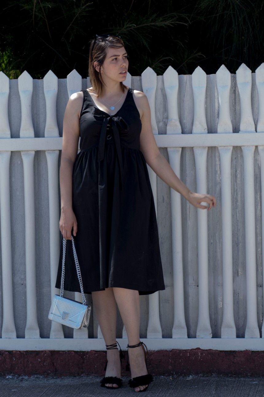 Black lace up dress_3