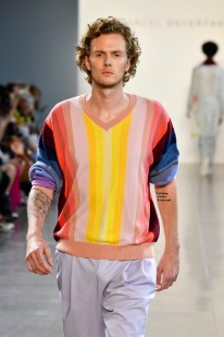 NEW YORK, NY - SEPTEMBER 12: Model Barron Hilton walks the runway for Marcel Ostertag during New York Fashion Week: The Shows at Gallery II at Spring Studios on September 12, 2018 in New York City. (Photo by Frazer Harrison/Getty Images for Marcel Ostertag)
