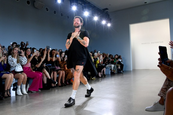 NEW YORK, NY - SEPTEMBER 12: Designer Marcel Ostertag walks the runway at the Marcel Ostertag front Row during New York Fashion Week: The Shows at Gallery II at Spring Studios on September 12, 2018 in New York City. (Photo by Dia Dipasupil/Getty Images for Marcel Ostertag)