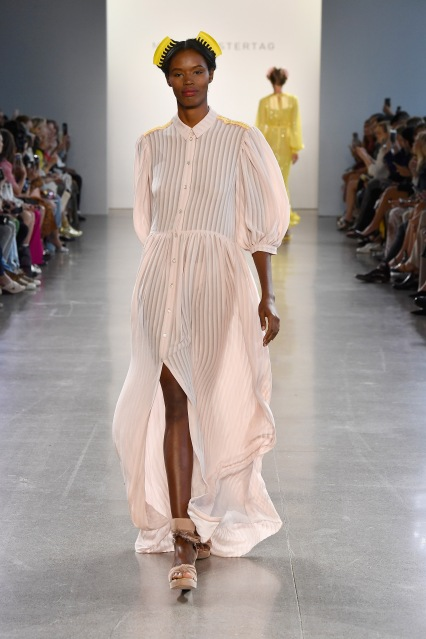 NEW YORK, NY - SEPTEMBER 12: A model walks the runway for Marcel Ostertag during New York Fashion Week: The Shows at Gallery II at Spring Studios on September 12, 2018 in New York City. (Photo by Frazer Harrison/Getty Images for Marcel Ostertag)