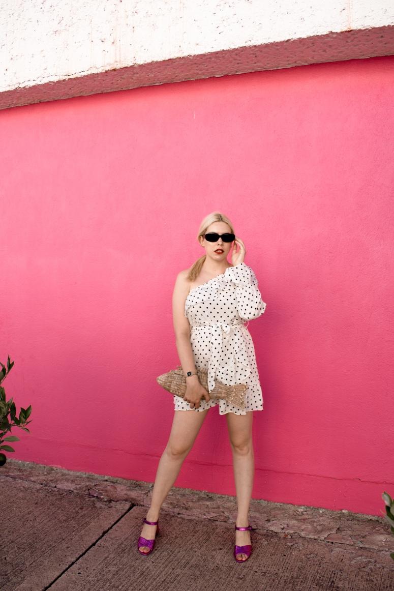 Femme Luxefinery polka dot mini dress